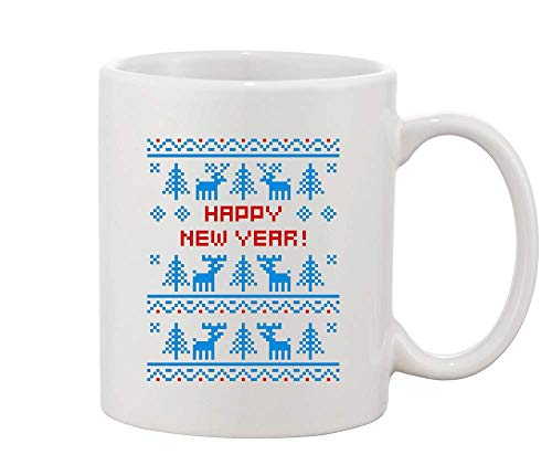 Finest Prints Knitted Christmas Sweater Style Happy New Year with Ornaments Christmas Design White Ceramic Coffee and Tea Mug