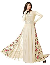 Skyblue fashion Off White Georgette Embroidered Dress Material