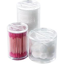 PuTwo Organizador de maquillaje Organizador de baño de almacenamiento Organizador transparente para almohadillas de algodón Bolas de algodón Bolas de algodón con tapa - Triple Ronda