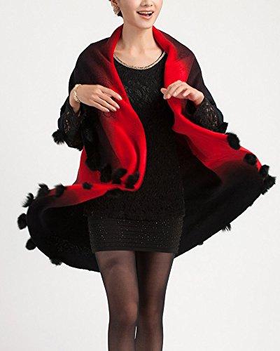 Cape Femme Tricot Large Poncho Automne Hiver Pulls Vêtements Cardigan Tunique Sweats Tricots Manteaux Rouge Noir