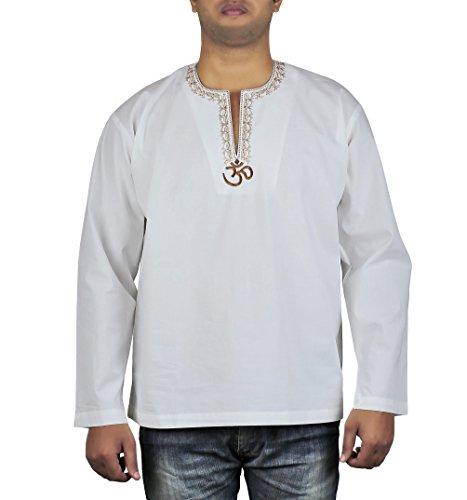 LockerluftiggesticktenKurtaShirtfürMännerOm, indischeMode46Zoll