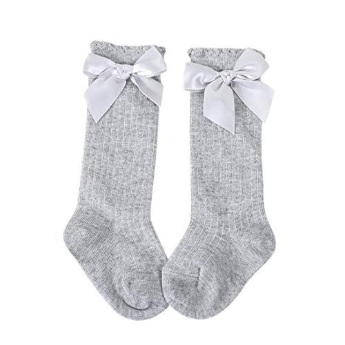 Bobopai Kids Girls Princess Bowknot Socks ✿ Big Bow Knee High Long Soft Cotton Lace Baby Socks (Gray) - Mädchen Lace Trim Leggings