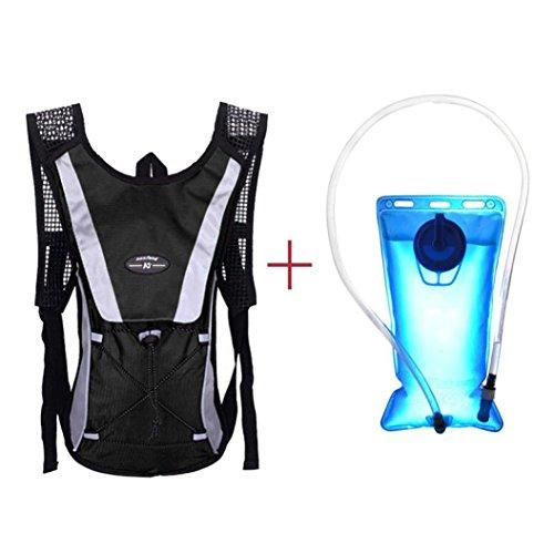 Zolimx Wasser-Blasen Tasche Rucksack + Trinksystem Wandern Camping 2L (Schwarz) (Unterschrift Bag Hobo Handtasche)