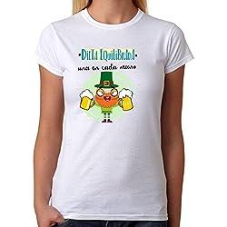Camiseta Dieta Equilibrada una Cerveza en Cada Mano. Divertida Camiseta para Fiestas, Feria, Regalo, Despedidas Soltera, Amiga. (M)