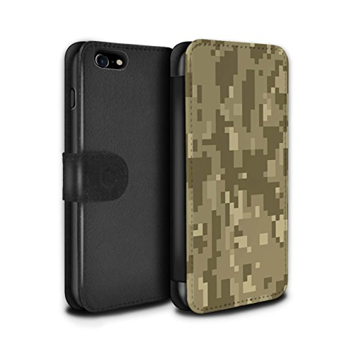 Stuff4® PU-Leder Hülle/Case/Tasche/Cover für Apple iPhone 7 / Brauner Cadpat Digital Muster/Militär Camouflage Tarnung Kollektion