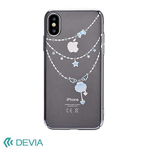 Devia custodia cover swarovski crystal shell silver per telefono cellulare iphone x