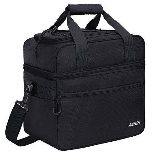 MIER 2 Compartment Large Cool Tote Bag Isolierte Kühltasche für Mittagessen, Picknick, Camping, Strand, Autoreise, Wandern, Reisen, 22L, Schwarz - Cargo Top Zip Tote