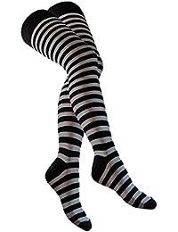 Overknee Socken Schwarz Grau Gestreift