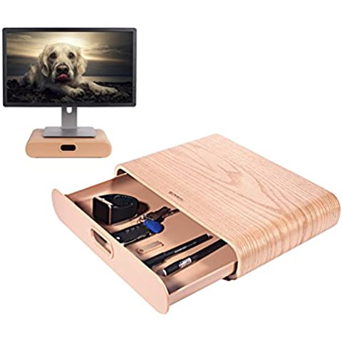 In legno Monitor supporto, UCMDA arco COMPUTER Desktop Monitor Heighten supporto mensola supporto display staffa per iMac PC portatili, colore: nero White stand&drawer 13.78 x 9.65 x 2.95 inch