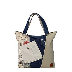 Große Damen Tasche aus alten Jeans Schultertasche Damen mit Fronttasche Einkaufstasche Handtasche Damen Mädchen Zero waste Damen Mode Canvas Tasche Beige Blau