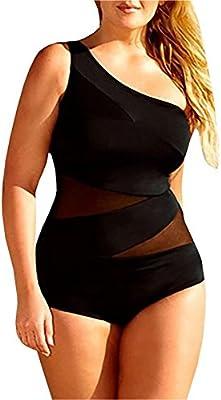 GenialES Traje de Baño Bañador Bikini Talla Grande Cintura de Malla Swinsuit Beachwear para Mujer Negro XL XXL XXXL