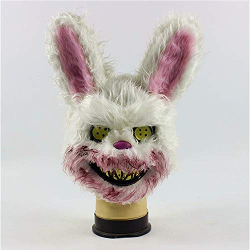 Katze Bunny Kostüm Im - JUNJP Halloween Scary Zombie Bunny Maske White Bunny Rabbit Bloody Mask, Neuheit Halloween Kostüm Party Plüsch Tierkopf Maske Bunny Head
