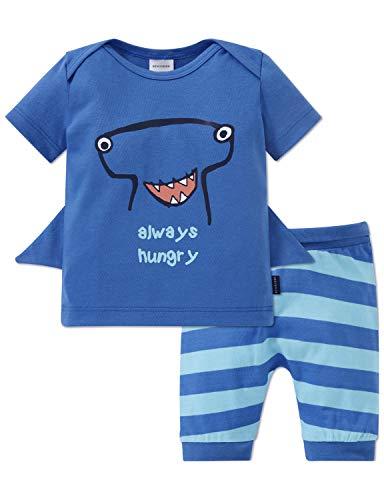 Schiesser Jungen Baby Anzug kurz 2-teilig Zweiteiliger Schlafanzug, Blau (atlantikblau 899), 74 (Herstellergröße: 074)