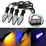 GENERIC 4pcs Motorcycle Amber&Blue 12LEDs Turn Signal Indicator Lamp Light With Flasher Relay