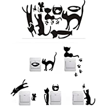 IHRKleid Vinilo Decorada Pegatina de Pared Impermeable Gatos ratones yPeces para Enchufe y interruptor (negro