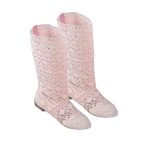 Yying Damen Sommer Stiefel Stiefeletten Flach Stickerei Hohe Stiefel, Sexy Mesh Schlupfstiefel, Slip-On Schuhe Boots (Stiefel Hohe Flache Schwarze)