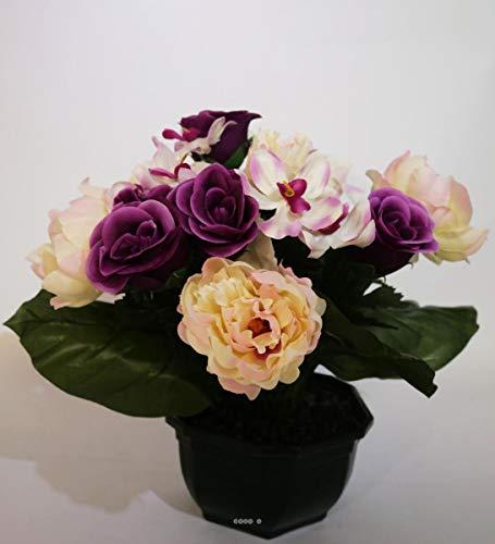 Artificielles - Composition Vasque Rose, Pivoine lestee pour Exterieur h 32 cm Lavande - Choisissez Votre Couleur: Lavande