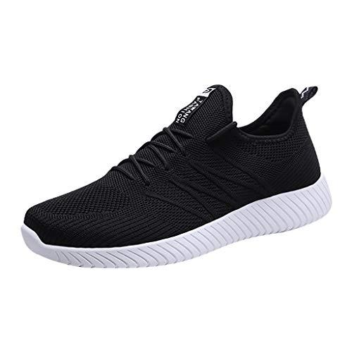 Sneakers Sportive Comodo E Indossabile Scarpe da Ginnastica Uomo in Tessuto Traspirante per Bambini Mesh Selvaggio(Nero+40 EU)