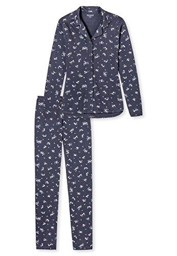 Schiesser Damen Zweiteiliger Schlafanzug Pyjama Lang Graphit