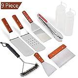 Rain Queen 9pcs Barbecue Outils kit Bois et Acier Inoxydable Pince Palette à Gril spatule INOX Brosse à Barbecue Mallette Plancha Cuisine