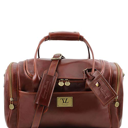 Tuscany Leather TL Voyager Sac de Voyage en Cuir avec Poches aux côtés - Petit modèle Marron
