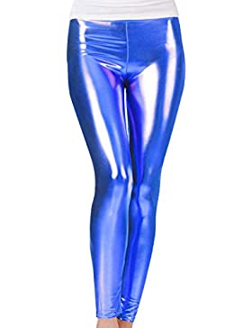 Niña leggings, Metálico Brillante, Largos, Ajuste elástico