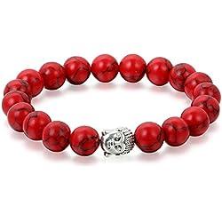 Flongo Pulseras budistas buda budismo pulsera roja brazalete de energía buena fortuna, Bendición 10mm, Hombre Mujer
