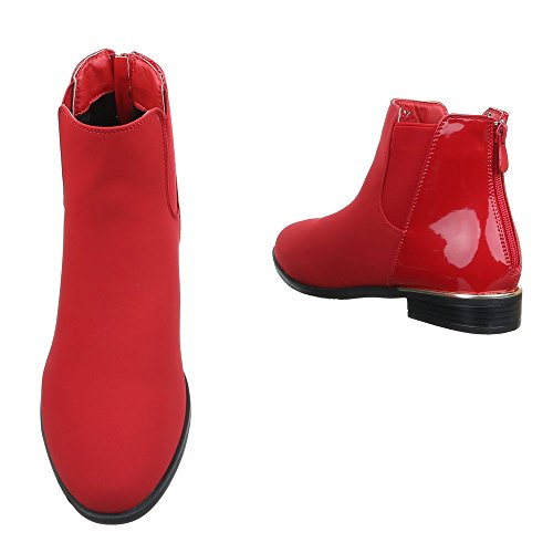 Ital-Design , Bottes Chelsea femme Rouge