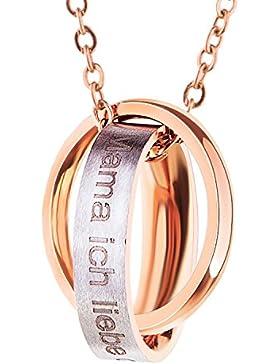Bliqniq Edelstahl Halskette Damen Silber Rosegold mit Anhänger mit Gravur