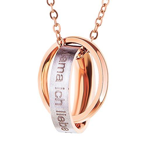 """[Geschenk zum Muttertag] Bliqniq Edelstahl Halskette Damen Frauen Silber Rosegold mit Anhänger mit Gravur """"Oma / Mama, Ich liebe dich für immer"""" nie verfärben"""