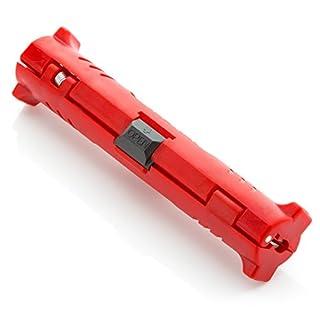 deleyCON Abisolierer für Koaxialkabel universell für Alle Sat Kabel Antennenkabel Abisolierwerkzeug Rot 1 Stück