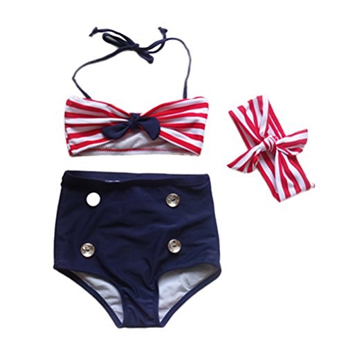 WINOMO Baby Girls Swimwear Infant Girls Striped Halter Bow Bikini Set Outfits Beachwear Watersport Clothes(Red)