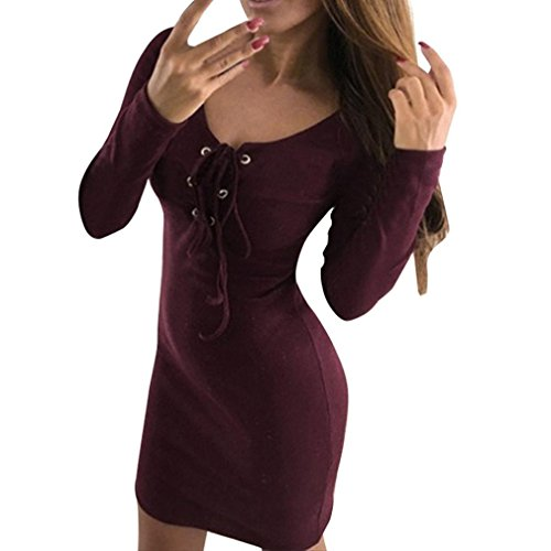 Kanpola Kleider Damen Langarm Bodycon langes Bandage dünnes Kleid (Bootcut-kleid)