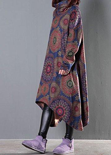 MatchLife Femme Nouveau Manche Longue Floral Imprimé Coton Robe Style3-Bleu marine