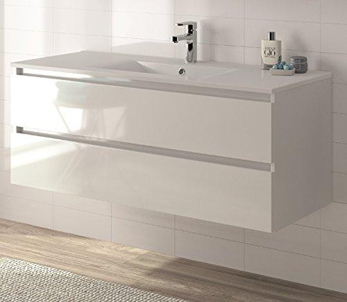 ALLIBERT Meubles Salle de Bains Ensemble de Meubles pour Salle de Bain lavabo prémonté Softclose Blanc Brillant 120cm