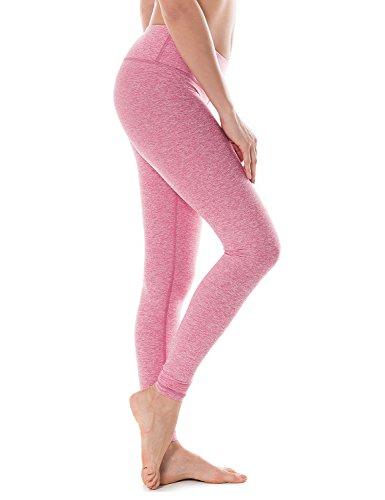 CRZ YOGA Femme Legging de Sprot Yoga Longueur Longs Poche de Clé Collant Running Rose chiné