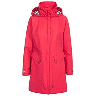 Trespass Rainy Day Waterproof Jacket with Concealed Hood for Women,Red,Large