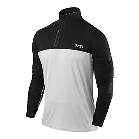 Men's TCA Fusion Pro QuickDry Long Sleeve Half-Zip Running Top Heather Grey / Black XL