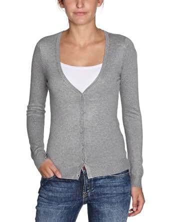Vero Moda Glory New - Gilet - Uni - Manches longues - Femme - Gris (Lt Grey Mélange) - FR: 34 (Taille fabricant: XS)