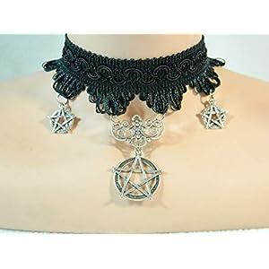 Pentagramm Kette aus Spitze schwarz Choker Gothic Steampunk Bat Cosplay Damenkette