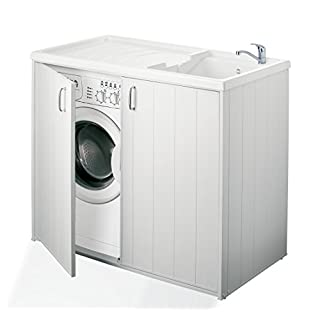 Negrari Schrank für Waschmaschine und Waschbecken, umkehrbar, aus Harz, Farbe: Weiß, Größe: 109x 60x 94cm, 6008SPPLK