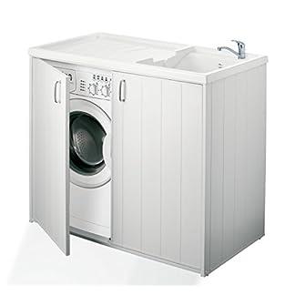Negrari  – 6008s Cubierta móvil y de lavado reversible, resina, blanco, de 109 x 60 x 94 cm