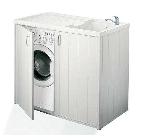 Negrari 6008spplk Mobile Waschmaschinenbezug und Waschbecken wendbar, Harz, Weiß, 109x 60x 94cm