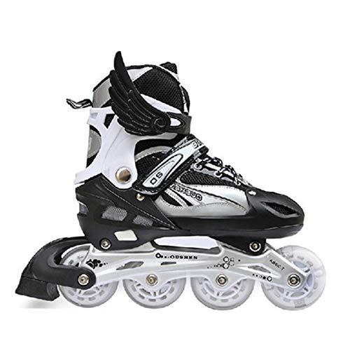 Inline Skates für Kinder Jungen Mädchen - Rollschuhe Einstellbare Größen Beleuchtung Räder Atmungsaktives Mesh Dreifachschutz Aluminium Rahmen Einstellbare,Schwarz,M (8 Flash Wheels)