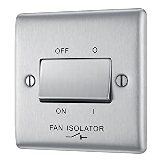 BG Electrical NBS15 10amp 3-Pole Metal Brushed Steel Switch Fan Isolator