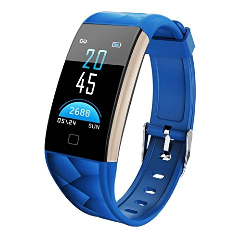 kingko 0.96 Zoll TFT bunter Bildschirm,IP67 wasserdicht,T20 Color Screen Bluetooth Smart Watch Heart Rate Monitor Smart Band,Herrenuhr - Damenuhr I Schlicht, elegant und sportlich (blau)