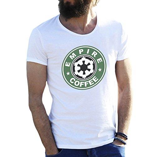 Friendly Bees Star Wars Empire Coffee Blanca Camiseta para Hombre Large