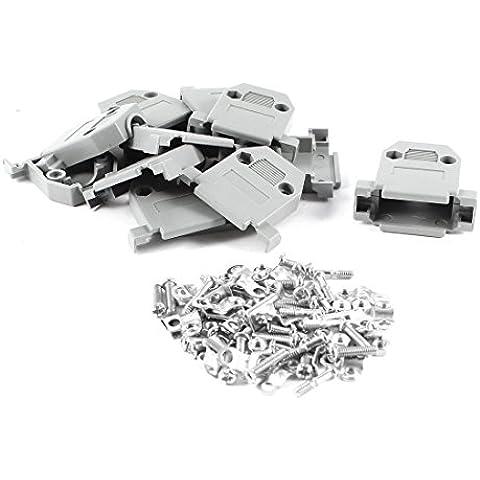 20 piezas de plástico Carcasa gris para D Sub DB15 15 pin conector