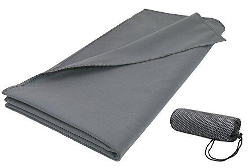 ZOLLNER® saugstarkes Mikrofaser-Badetuch / Duschtuch / Fitnesstuch / Sporthandtuch 90x180 cm anthrazit, in verschiedenen Größen und Farben, direkt vom Hotelwäschespezialisten, Serie 'Active'