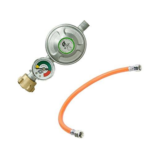 ECD Germany Druckminderer 50 mbar mit Manometer Gasdruckregler Gasbrenner + Mitteldruck-Propanschlauch 40 cm Gasdruckschlauch Gasschlauch